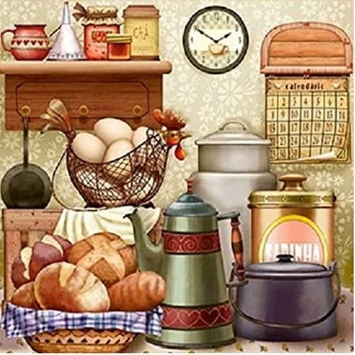 Okrągły diamentowy obraz chleb kawa herbata diament haft krajobraz obraz kryształ górski dekoracja kuchni-