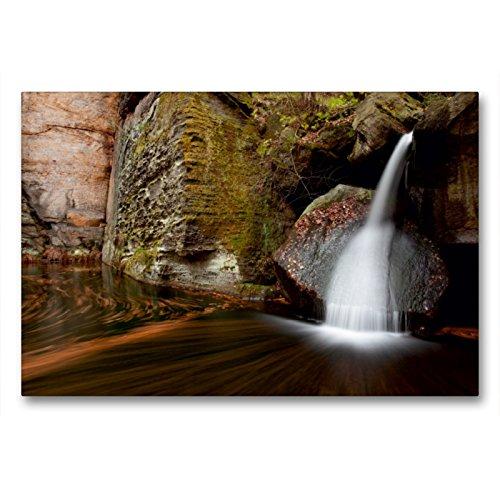 CALVENDO Premium Textil-Leinwand 90 x 60 cm Quer-Format Wasserfall im Gelobtbachtal in der Sächsischen Schweiz, Leinwanddruck von Dirk Ehrentraut