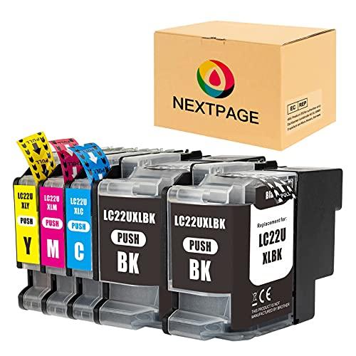 NEXTPAGE Kompatibel Tintenpatrone LC22U LC22UBK LC22UC LC22UM LC22UY XL Ersatz für Brother MFC-J985DW DCP-J785DW Drucker (2 Schwarz,1 Cyan,1 Magenta,1 Gelb)