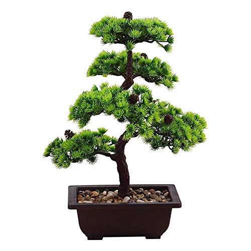 """Lsqdwy Planta de bonsái Árbol de bonsái Creativo Decoración de Plantas Artificiales No se desvaneció Sin riego En Maceta para Oficina en casa, plástico, Árbol de bonsái Artificial de 15,7""""de altur"""