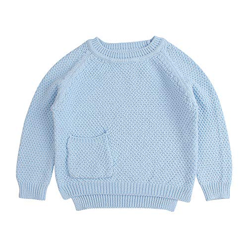 Baby Boys Girls Crochet Sweater Infant Kids Cable Knit Cotton Cardigans Casual Long Sleeve Pullover Spring 6M4T Blue 3T