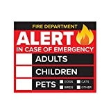4 Pack - 3' Emergency Alert People and Pet Finder Sticker/Decal - Adults, Children and Pets - Fire Department and Rescue Safety Alert Decal for Window and Door Application