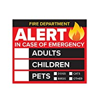 4枚パック - 3インチ 緊急警報人とペットファインダーステッカー/デカール - 大人 子供 ペット - 消防署 救助 安全警告デカール 窓とドア用