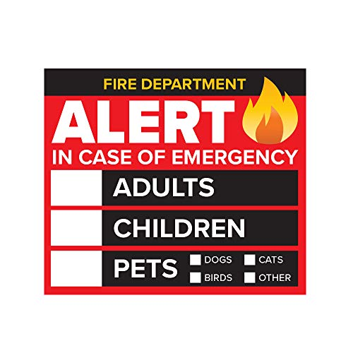 """4 Pack - 3"""" Emergency Alert People and Pet Finder Sticker/Decal - Adults, Children and Pets - Fire Department and Rescue Safety Alert Decal for Window and Door Application"""