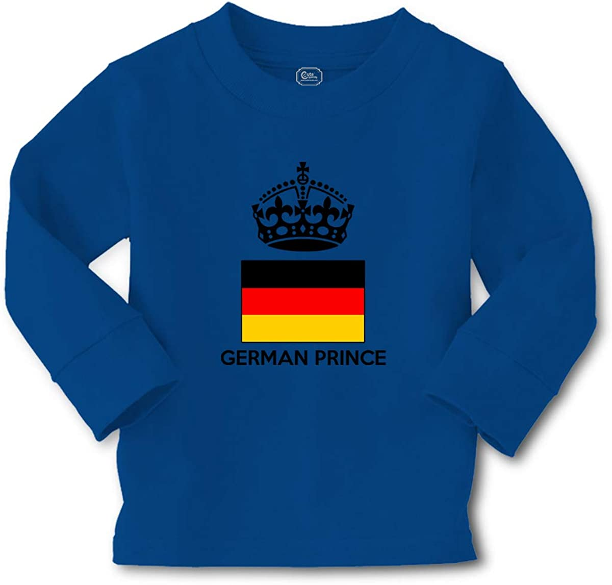 Cute Rascals Kids Long Sleeve T Shirt German Prince Crown Countries Cotton Boy & Girl Clothes Funny Graphic Tee Royal Blue Design Only 3T