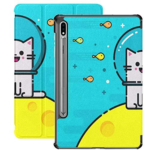 Compatible con Galaxy Tablet S7 Plus Funda de 12,4 Pulgadas 2020 con Soporte para bolígrafo S, Happy Emoticon Cat Fish Underwater Slim Stand Funda Protectora Tipo Folio para Samsung