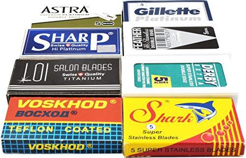 40 Excellent Quality Double Edge Razor Blades Sampler (8 different brands)