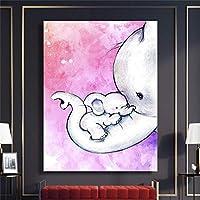 DIHEFAポスターキャンバス絵画かわいい赤ちゃん象Tableau壁画アニマルプリントキャンバスプリントキャンバス壁アートポスター装飾絵画 40x50cmフレームなし