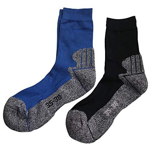 Gesundheitsstrumpf 3 Paar Kindersocken Funktionssocken Wandersocken Outdoor Trekkingsocken Baumwolle Socken (35-38, Blautöne)*