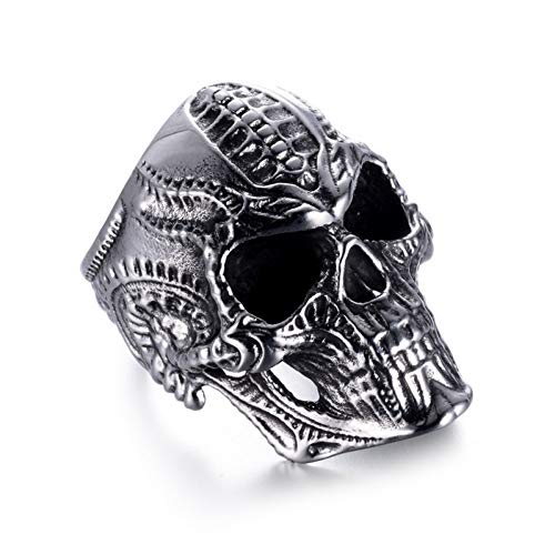 DJDLNK Vintage roestvrijstalen schedelringen voor mannen sieraden zilveren ring punk zwart verlovingsring trouwring ringen mannen cadeau