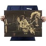 Vintage Kraft Poster Estilo de las estrellas de rock Led Zeppelin B Bandas Estrellas Imagen Música Rock Poster Retro Papel Kraft 51.5 * 36 cm Decoración de pared Bar Cafe