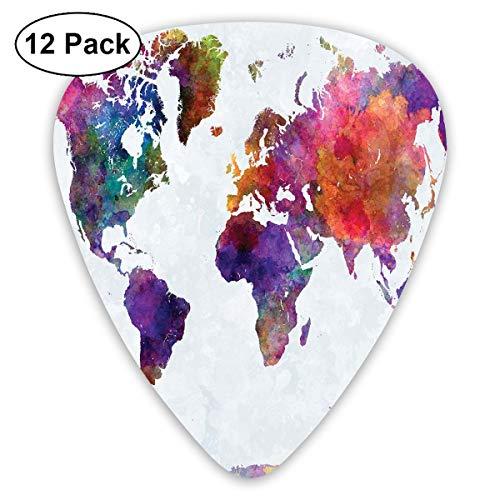 Gitaar Picks12 stks Plectrum (0.46mm-0.96mm), Veelkleurige hand getrokken Wereldkaart Azië Europa Afrika Amerika Geografie Print,Voor Uw Gitaar of Ukulele
