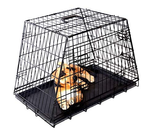 Maxx - Jaula de Transporte para Perro (Inclinada, para casa, Coche, Viaje, Vacaciones, 78 x 47 x 55 cm), Color Negro