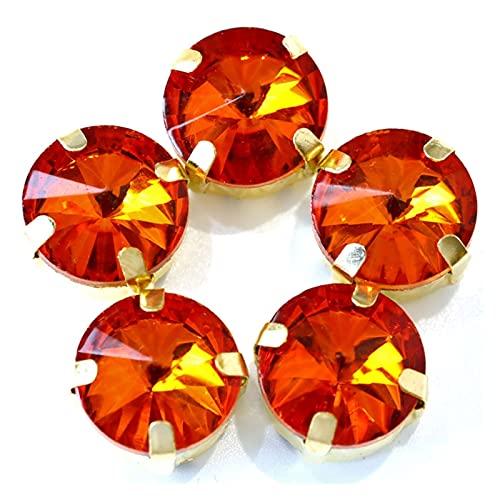 CHUNMA Muchos Colores Coser en Red Rhinestones Cristal Glass Coser en Rhinestones con Garra de Oro Ropa de Rhinestones Flow (Color : Style I, Size : 16mm-20pcs)