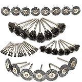 HOMEJIA 45 piezas de acero para rueda de alambres, herramienta de accesorios de pulido con vástago para taladro Dremel herramienta rotativa