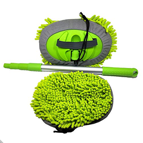 BONV Chenille Microfiber Car Wash Mop with Long Extension Aluminum Alloy Handle Three-Section Adjustable Rod Brush Multi-Function Household Car Truck Washing Cleaning Tool Accessories