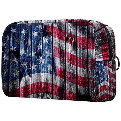 The USA Flag Peint sur Bois PadSmall Maquillage Sac à Main Voyage Maquillage Pochette Mini Sac à Cosmétique pour Femme