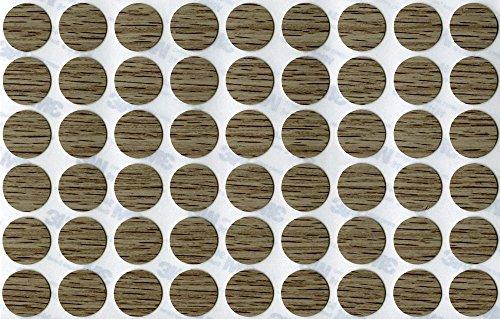 KwikCaps® PVC Bardolino Eiche Grau Selbstklebende Schrauben-Abdeckungen Abdeckkappen Nägel Cam flach [54 Stk. x 20 mm Durchmesser]