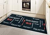 Traum Küchenläufer Küchenteppich waschbar mit Schriftzug Guten Appetit in Schwarz Rot Größe 80 x 250 cm