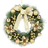 Gukasxi Corona de Navidad de 40 cm para puerta delantera, guirnalda de Navidad artificial colgante con bayas y lazo de bola de Navidad dorada, corona decorativa del hogar