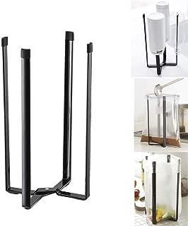 Transer- Multifunction Eco Stylish Steel Mug Cup Bottle Drain Rack Shelf, Stand Plastic Bag Garbage Bag Holder for Home Kitchen Tower (Black)