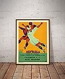 Fußball-Poster, Vintage-Stil, Real Madrid v. Valencia FC