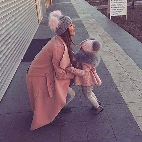 Wildeal - Juego de 2 gorros de punto para mamá de invierno, cálidos y de doble ovillo de lana para mujer y niña rosa Rosa