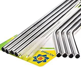 """Kichwit Extra Long Stainless Steel Straws Set of 8, Reusable Wide Straws for Smoothies, 10.5"""" Long, 5/16"""