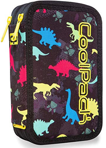 COOLPACK XXL Federtasche Federmappe Federmäppchen 44-teilig gefüllte Schüleretui 3-stöckig 20 x 13,5 x 7 cm Dinosaurs