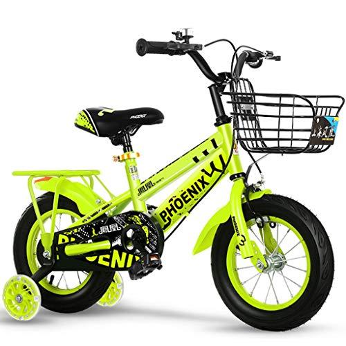 Longteng Las Bicicletas De 16 Pulgadas Ciclo Al Aire Libre De Bicicletas Antideslizante Ruedas con Auxiliar Intermitente Ruedas For Niños con Las Cestas For Niños Y Niñas (Color : Verde, Size : A)