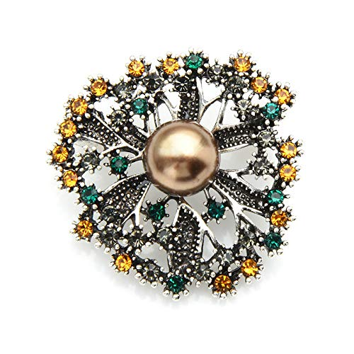 CLEARNICE Pearl Rhinestone Flower Weddings Brooches for Women Casual Office Brooch Pins Gifts