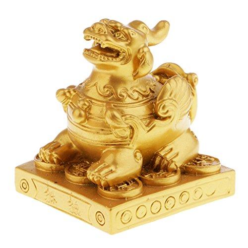 Homyl Pixiu Statue Skulptur Glück & Erfolg Symbol Feng Shui Dekoration - Gold