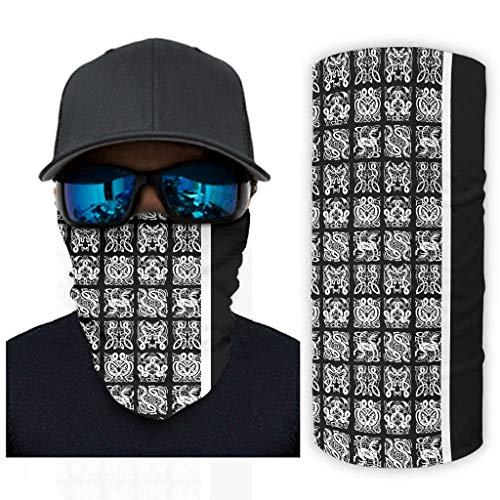 Fugift Weiße schwarze Wikinger-Tattoo-Halstuch, Sturmhaube, Fäc, Mäş Magisches Haarband, Bandana mit UV-Schutz, Headwrap, weiß, Einheitsgröße für Camping, Wandern