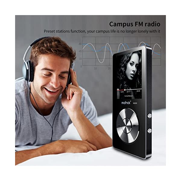 Portable MP3 Player(Expandable Up to 128GB), Music Player/One-Key Voice Recorder/FM Radio 70 Hours Playback with External Speaker HD Headphone, Black 6