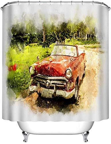 Douchegordijn Rode auto Polyester Stof/Weefsel 3D Hd Printen Huisdecoratie 180x 200cm 12 Haken