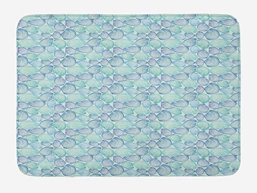 Alfombra de baño Oyster, diseño abstracto de almejas de berberecho estilo dibujado...