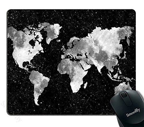 Smooffly Gaming Mouse Pad Custom,World Map Silhouette Pattern Mouse Pad Non-Slip Thick Rubber Large Mousepad