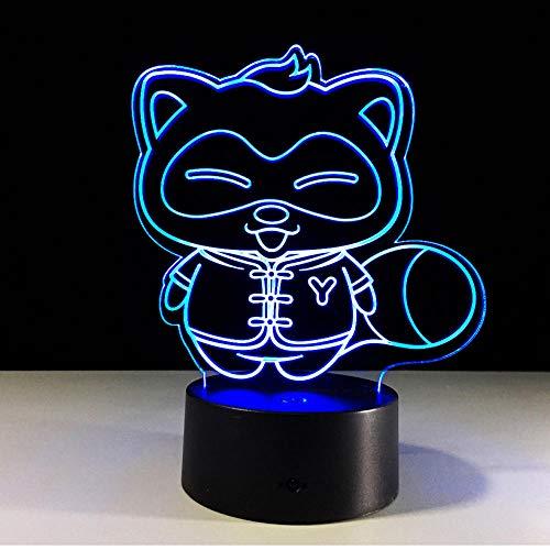 Festival Raccoon Lámpara 3d Usb Luz de noche LED Sensor de movimiento Luz Banco de energía Iluminación de luz 3d para debajo de gabinetes de cocina