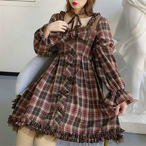 Mcttui Vestido Lolita Falda Japonesa Vestido Ropa gótico Lolita Vestido otoño Mujeres Manga Larga Manga Plaid Mini Vestido Cuadrado Collar Arco Vestido Chicas Volantes Volantes Vestidos de Fiesta