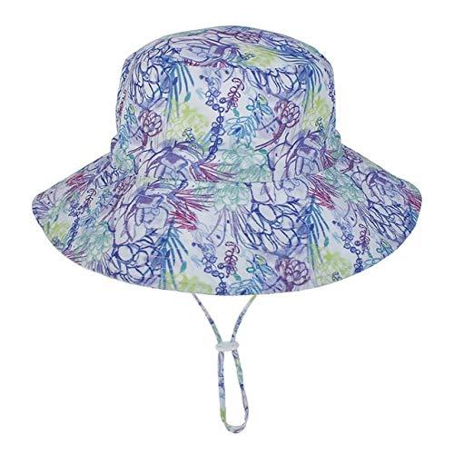 Verano bebé Sombrero para el Sol niños Gorra niños Unisex Playa niñas Sombreros de Cubo Dibujos Animados Infantil protección UV-Purple flower-3-8 Years Old