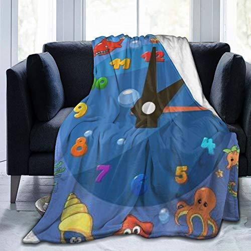 KOSALAER Bedding Manta,Niños Dibujos Animados Reloj Vida Marina,Mantas cálidas de Sala de Estar/Dormitorio Ultra Suaves para Todas Las Estaciones
