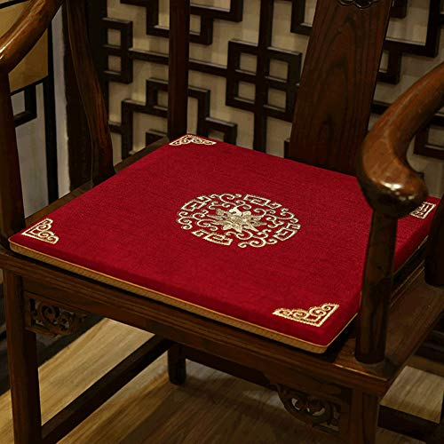 AINH Chinese Cotton Linen Chair Pad,Light Luxury Non-Slip Durable Chair Cushion Breathable Soft Removable Washable Cushion for Home Office Chair-d 50x44cm(20x17inch)