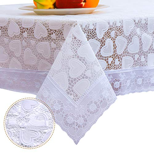 DITAO White Waterproof Vinyl Lace Tablecloth Rectangle Easy Wipe Table Cloth for Party Wedding, 54 x 72 inch