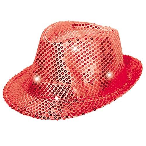 Folat 24075 Tribly Chapeau de fête avec paillettes et éclairage LED, pour adulte Unisexe, Rouge, Taille unique