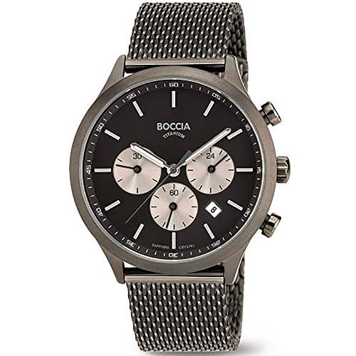 Boccia Herren Chronograph Quarz Uhr mit Edelstahl Armband 3750-06