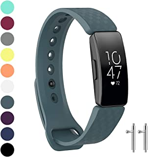Watbro Compatible with Fitbit Inspire HR Bands/Fitbit Inspire Band, Adjustable Soft Silicone Waterproof Inspire Straps for Women Men Sports Replacement Wristband for Inspire/Inspire HR Fitness Tracker