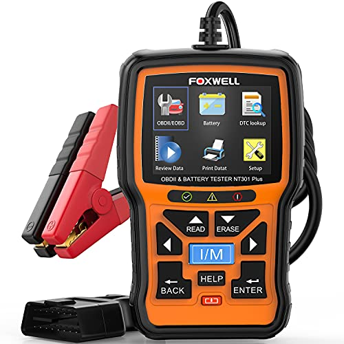 FOXWELL NT301 Plus OBD2 Scanner with 12V Battery Tester, Check Engine Code Reader Scan Tool, [2021 New Version] 2 in 1 Car Scanner Diagnostic for All Cars, O2 Smog Test Automotive Scanner