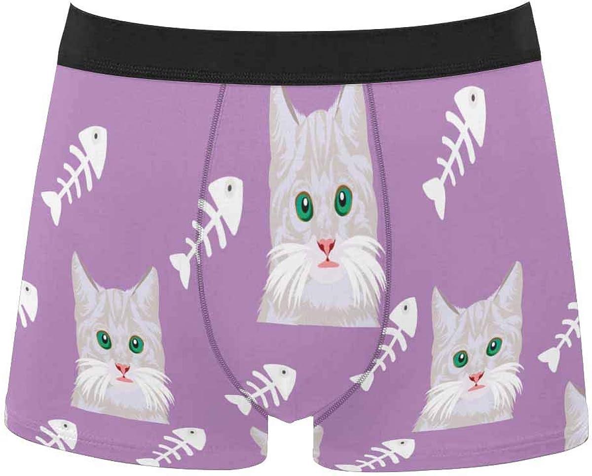 InterestPrint Men's Underwear Boxer Briefs Underwear for Juniors Yoth Boys Seahorse Blue White Striped