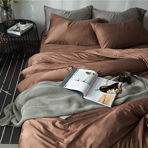 Yaonuli dekbedovertrek van katoen satijn effen katoen met lange strik set van vier stuks koffie 2,0-2,2 meter bed