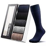 Caudblor 5PR Calcetines ejecutivos hombre hasta de rodilla altos largos secos de algodón,Athletic Fit Calcetines para Deporte,Running,Coolmax, dress socks/Multicolor